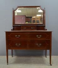 Early 20th century mahogany mirrored dre