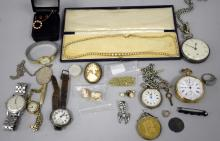 Silver pocket watch, gold plated pocket