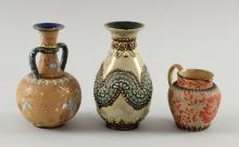 Group of Doulton Lambeth ceramics, a Sla