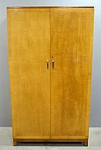 Heals Art Deco wardrobe. In sycamore veneer with rosewood base ivorine label  176cm by 100cm