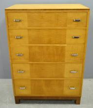 Heals Art Deco chest. in sycamore and rosewood  five drawers with chrome handles, ivorine label, 116cm by 76cm