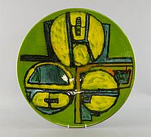 Poole pottery Aegean decorated wall plate by Carol Cutler active 1969-76 diameter 41cm