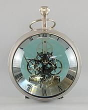 Modern metal mounted magnifying glass ball clock. with Roman numerals and subsidiary seconds dial, 19cm diameter,