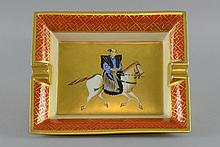 A Hermes Paris astray. With painting of a Mongolian horseman, 19.5 x 16 cm