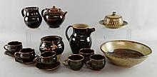 Winchcombe pottery. Part coffee set and a teapot and bowl, a St Ives pot with half glaze, teapot and pot