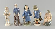 Five Copenhagen porcelain figures. Including child with puppy, young boy with umbrella, two by Bing and Grondahl