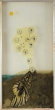 20th century abstract seascape painting on glass, unsigned, 60cm x 29cm,