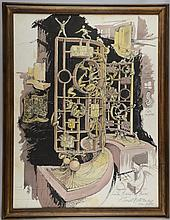 Ernest Bottomley (English, b.1934), framed mixed media on board, this was a depiction of  a suggested sculpture for London Borough of Harrow. Signed, titled and dated Nov 1985.  73.6cm x 55.8cm