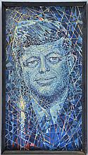 Edward Ford, mixed media, abstract portrait of J F Kennedy, made up of painted lozenges stuck to a plaster ground in blues, greens and reds, signed lower right 90cm x 48cm,