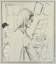 Richard Kennedy, print of an artist, signed in pencil, 34cm x 30cm,