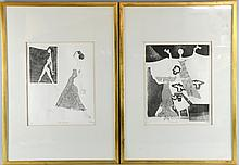 Pair of limited edition prints 6/12 'Illusioniste' and Passo di danza', signed and dated Cuneo '85, 29cm x 24cm,