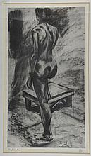 Boyd Waites, etching of a female nude, 4/100, signed in pencil, 39cm x 23cm, gallery label verso,