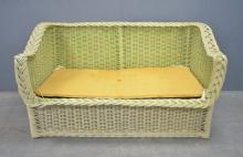 Suite of green painted rattan conservatory furniture
