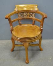 Early 20th century satinwood swivel desk chair