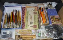 Calligraphy pens, nibs, bulldog clips, paints pencils and related items