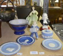 Royal Copenhagen figure of a young boy playing an accordian, Royal Doulton Figure, Fair Lady, HN 2193, Wedgwood jasperware small china, Royal Doulton Commemorative bowl and a Staffordshire modern porcelain figure of John Wesley