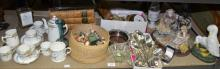 Capo di Monte group, Mappin & Wepp Deco silver plated cutlery, three vols Shakespeare, part coffee set and sundry items.