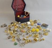 Vintage costume jewellery in blue hexagonal box