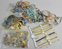 Large collection of mainly costume jewellery  and watches,  including numerous earrings, necklaces,