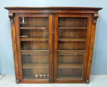 Victorian mahogany and glazed bookcase, together with an oak corner cupboard.