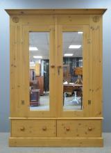Large mirrored Pine cupboard