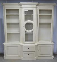 Modern white painted breakfront bookcase