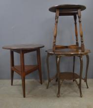 Oak cricket table, another oak side table and a mahogany side table.
