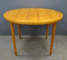 Pine dining table, side table and two chairs.