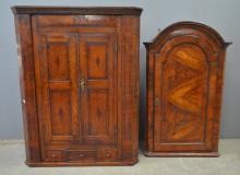 Two oak corner cupboards and a walnut corner cupboard