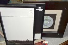 Three contemporary paintings and a jade plate in a shadow box.