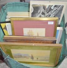 Collection of prints of commercial airliners, Barnard prints of 19th century scenes, four shipping & boating watercolours, etc.,