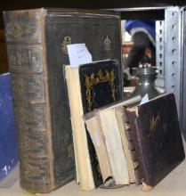 Browns Family Bible dated 1886, Floral Album of family photographs, autograph book and hand written book of poems.