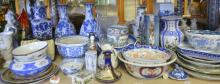 19th century Chinese export blue and white fluted bowl and other Oriental ceramics,