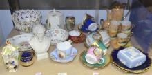 Quantity of ceramics including crested Dresden cup and saucer, continental cups and saucers, Pountney tea caddy etc.