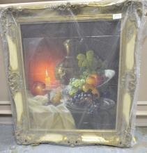 W De Coro still life signed oil on canvas , another still life and landscape