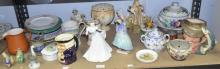 Assorted ceramics including two Royal Doulton figures (Pantalettes and another), Royal Doulton character jug etc.,