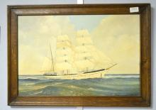 Oil on board depicting a three masted sailing ship, 36.5cm x 55.5cm,