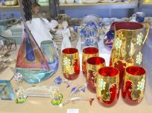 Continental glassware, two Lladro figures, assortment of glassware including figure of yacht and three dolphins,