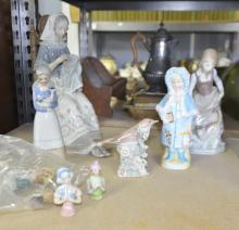 Pair of Lladro lamps, other Lladro figures etc.,