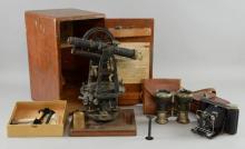 Buff and Buff surveyors level, boxed, a Kodak folding camera together with a pair of Le Jockey Club Paris, binoculars.