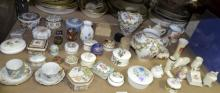 Collection of porcelain pill boxes, including Royal Crown Derby Forget - me- not porcelain pill box and cover, flower encrusted pair of Contintental vases and small amount of crested china.