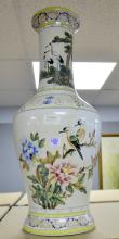 Large Modern china oriental vase decorated with bird amongst flowers.