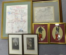 Quantity of small pictures to include old maps and an Admiral in full dress and flower studies.