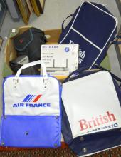 Canon EOS 300 camera in case and a Canon Epoca 135 in case together with a New Netgear Wireless - N 300 Router with DSL Modem and three never used Airline bags, British Airways, Air France,
