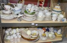 Quantity of mixed chinawares on four shelves, to include Royal Worcester, Royal Albert,  Poole, Wedgwood and Minton(alot)