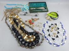 Collection of costume jewellery mainly 1970's and silver shoe horn and button hook, cased