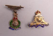 Royal Artillery sweetheart brooch, 9 ct gold and enamel, and a silver Royal Marines brooch