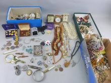 Large quantity of costume jewellery including some silver and medals(qty)