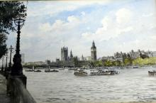 John Howell - watercolour, The Houses of Parliament from the South Bank, 23x35cm
