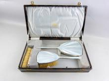 Silver and baby blue enamel backed three piece dressing table set in fitted box